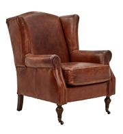 Sale 8824A - Lot 38 - A pair of traditional  hand aged leather wingback armchairs with turned legs on castors,  Height  100 cm  x Width 80 cm  x Depth 92 cm