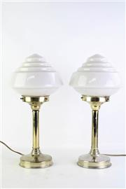 Sale 8844O - Lot 505 - A Pair of Brass Base Deco Table Lamps with Glass Shades