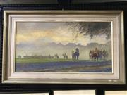 Sale 9024 - Lot 2031 - Kathleen McGrath Morning Exercise oil on canvas board 60 x 96cm (frame)  signed lower right