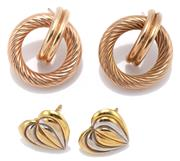 Sale 9074 - Lot 305 - TWO PAIRS OF 9CT GOLD EARRINGS; a pair 13mm 2 tone gold heart studs, other 18.5 mm twisted hoops with half hoop inserts, both missin...