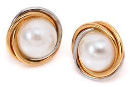 Sale 9132 - Lot 547 - A PAIR OF 18CT GOLD STUD EARRINGS; 15mm wide tri band design set with faux pearls with screw down post fittings, wt. 4.81g.