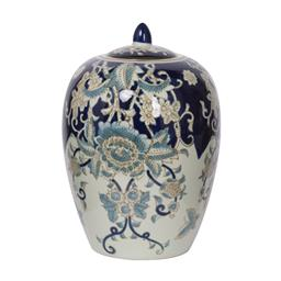Sale 9140F - Lot 212 - High gloss blue, white & gold jar with lid. Dimensions: W20 x D20 x H29 cm