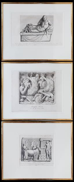 Sale 9162 - Lot 1011A - Set of three late 18th Century classical engravings, of carved Roman marble panels, in gilt frames