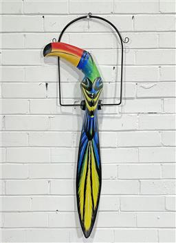 Sale 9188 - Lot 1260A - Vintage handpainted timber toucan mounted on metal swing (h104 x w34cm) -