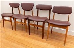 Sale 9239H - Lot 39 - Four mis-matched Mid-Century design teak dining chairs with burgundy upholstery, largest chair H 81cm, W 51 x D 50cm.