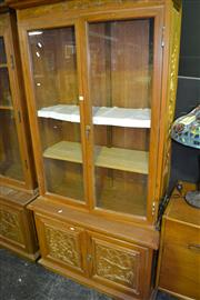 Sale 7987A - Lot 1014 - Glass Door Display Cabinet with Hunting Scenes