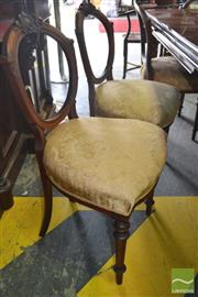 Sale 8267 - Lot 1089 - Set of Eight Victorian Walnut Balloon Back Chairs, with gold fabric seats & turned legs