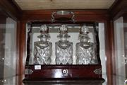 Sale 8300 - Lot 96 - Crystal & Timber Tantalus (With a Key)