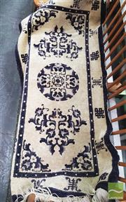 Sale 8444 - Lot 1045 - Chinese Black & Cream Wool Carpet, with medallion, floral scrolls & shou border