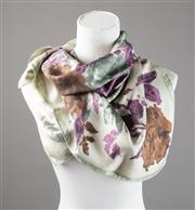 Sale 8499A - Lot 6 - A Guy Laroche, Paris, vintage silk scarf with hand rolled edges patterned with a large bunch of purple, brown & grey roses.
