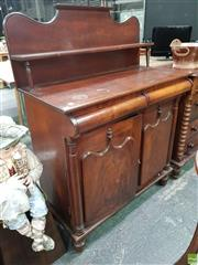 Sale 8559 - Lot 1002 - 19th Century Cedar Chiffionier, with shaped back, shelf & columns, above two cushion shaped frieze drawers & two good shield panel d...