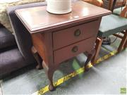 Sale 8637 - Lot 1093 - Small Timber Two Drawer Bedside