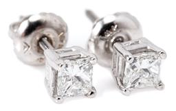 Sale 9156J - Lot 392 - A PAIR OF SOLITAIRE PRINCESS CUT DIAMOND STUD EARRINGS; corner claw set in 14ct white gold with 2 princess cut diamonds totalling 0....