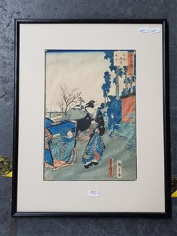 Sale 9127 - Lot 2021 - a Japanese woodblock print depicting Geisha and a woman in a litter, frame: 50 x 39 cm