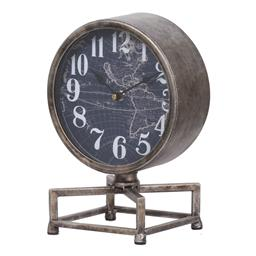 Sale 9140F - Lot 213 - Antique Iron framed Table Clock with a vintage world map design background. Dimensions: W20 x D15 x H28 cm