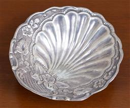 Sale 9140H - Lot 24 - A tri footed shell form 900 silver dish, Diameter 14.5cm, Weight 93g
