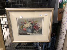 Sale 9152 - Lot 2020 - Artist Unknown Floral still life oil on board 39 x 45, signed -