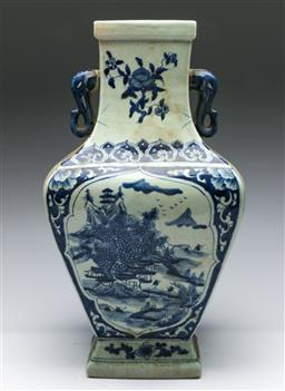 Sale 9164 - Lot 52 - A elephant handled blue and white Chinese vase (H:45cm)
