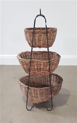 Sale 9255 - Lot 1071A - Metal and cane vegetable rack (h:104 x w:25 x d:28cm)