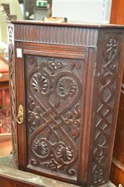 Sale 8093 - Lot 1457 - Corner Wall Mount Cabinet w Heavilly Carved Doors