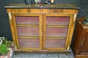 Sale 8105 - Lot 1006 - Victorian Inlaid Walnut Pier Cabinet With Gilt Metal Mounts & 2 Glass Panelled Doors