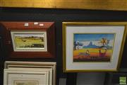 Sale 8250C - Lot 2041 - Penelope Bobbin - Clare Valley, oil on canvas board, 11.5 x 21.5cm, signed lower right, and a Hanna-Barbara original hand-signed c...