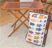 Sale 8380A - Lot 63 - A timber collapsible side table/valet stand, together with a funky Lap Topper