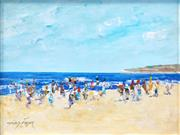 Sale 8548 - Lot 2003 - Donald Frazer - Beach Scene 25 x 32.5cm