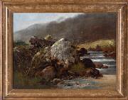 Sale 8550H - Lot 222 - R Aspinwall - Landscape with Rocks & Stream, 1887 46 x 61cm