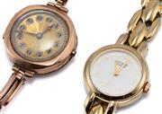 Sale 9054 - Lot 346 - A VINTAGE 9CT ROSE GOLD LADYS MANUAL WRISTWATCH AND ANOTHER; round guillouche telephone dial with Arabic numerals on 9ct elasticate...