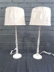 Sale 9043 - Lot 1008 - Pair of Taupe Candlestick Form Table Lamps - 5614 (h:73cm)
