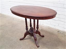 Sale 9126 - Lot 1121 - Victorian Inlaid Walnut Oval Occasional Table, on turned bird-cage pedestal (h70 x w86 x d53cm)