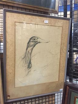 Sale 9130 - Lot 2079 - Molly Johnson Moving Duck charcoal, frame: 53 x 43 cm, signed lower right -