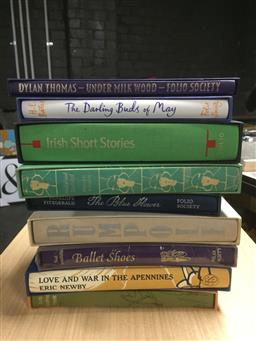 Sale 9152 - Lot 2449 - 9 Volumes of Folio Society Books incl. Irish Short Stories; Baetys, H.E. The Darling Buds of May; Thomas, D. Under Milk Wood;...