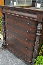 Sale 8050B - Lot 1 - American mahogany bow front chest of seven drawers, flanked by carved columns, with label for Brooks Household Art Co, Cleveland