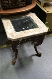Sale 8147 - Lot 1078 - Terrazzo Style Glass Top Side Table on Paw Feet