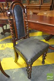 Sale 8267 - Lot 1083 - Victorian Oak  High Back Chair, with barley twist supports & leatherette upholstery