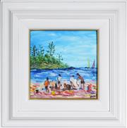 Sale 8309 - Lot 526 - Kevin Charles (Pro) Hart (1928 - 2006) - Beach Picnic 19 x 18.5cm