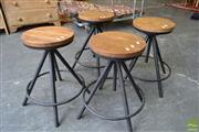 Sale 8550 - Lot 1531 - Set of Four Timber Top Swivel Stools on Black Metal Round Base
