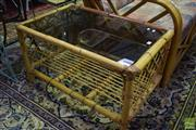 Sale 8532 - Lot 1130 - Cane Tiered Base Coffee Table with Glass Top