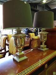 Sale 8566 - Lot 1424A - Pair of Chrome Table Lamps