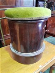 Sale 8617 - Lot 1042 - Victorian Mahogany Cylindrical Commode, with green velvet seat & ceramic chamber pot (missing support ring for chamber pot)