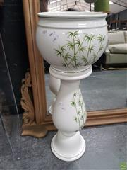 Sale 8637 - Lot 1005 - An Italian Ceramic Jardiniere with Bamboo Motifs on Jardiniere Stand (575)