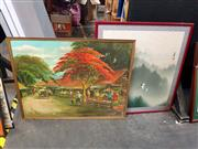 Sale 8682 - Lot 2062 - 2 Oriental Works: Flying Cranes, watercolour & Artist Unknown - Market Scene, acrylic on canvas, SLL
