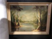 Sale 8824 - Lot 2068 - Landscape Painting with River by Unknown Artist