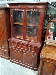 Sale 8956 - Lot 1041 - Victorian Mahogany Secretaire Bookcase, with two carved glass panel doors, fitted secretaire drawer & two panel doors below - 3 x Ke...