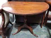 Sale 8993 - Lot 1094 - Victorian Oak Pembroke Table, in the Georgian manner, the round top with central floral inlay & cross-banding, on turned pedestal wi...