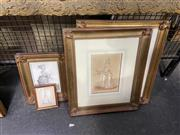 Sale 9041 - Lot 2035 - A pair of late C18th. hand-coloured engravings of Vogue Women, together with Another (2) Examples, framed and various sizes