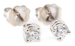 Sale 9132 - Lot 447 - A PAIR OF SOLITAIRE DIAMOND STUD EARRINGS; bead claw set in 14ct white gold with 2 round brilliant cut diamonds totalling 0.40ct P1,...