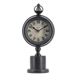 Sale 9140F - Lot 215 - A table clock with a round iron pedestal base and black finish. Dimensions: W15.5 x D10.9 x H37.1 cm